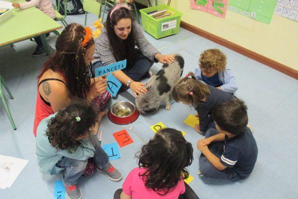 Taller con animales en el colegio Las Cigüeñas