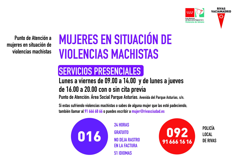 Servicios presenciales en el Punto de Atención a mujeres en situación de violencias machistas